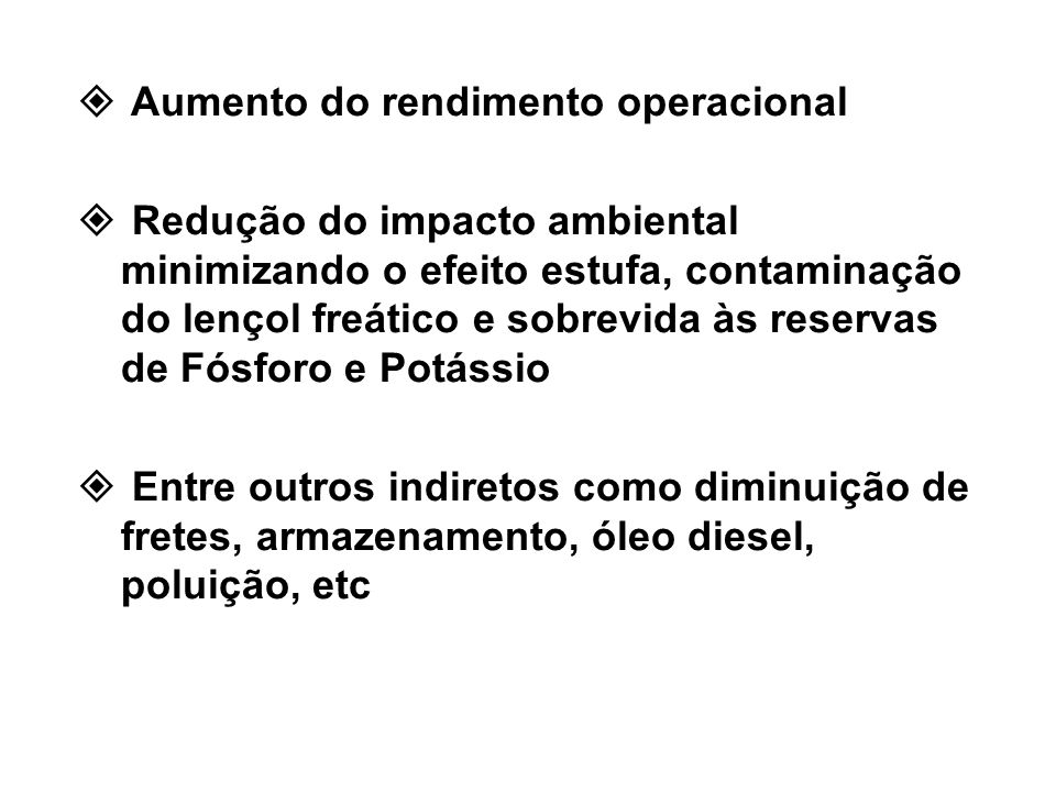 Aumento do rendimento operacional