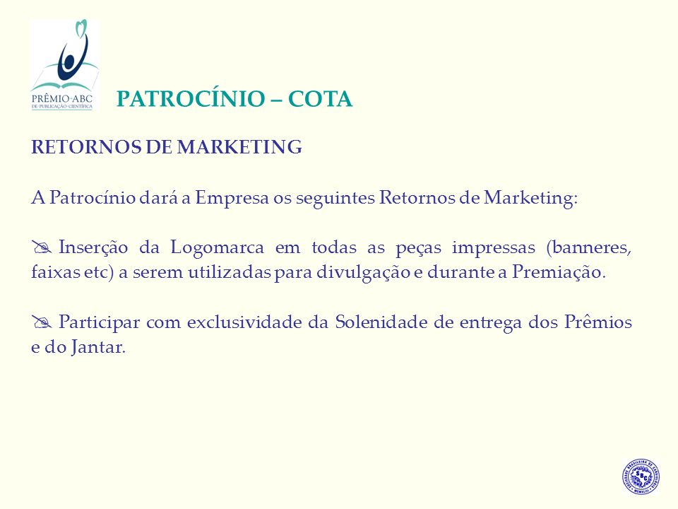 PATROCÍNIO – COTA RETORNOS DE MARKETING