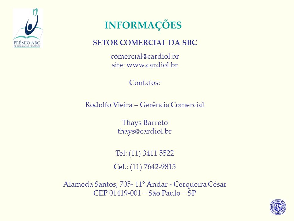 INFORMAÇÕES SETOR COMERCIAL DA SBC
