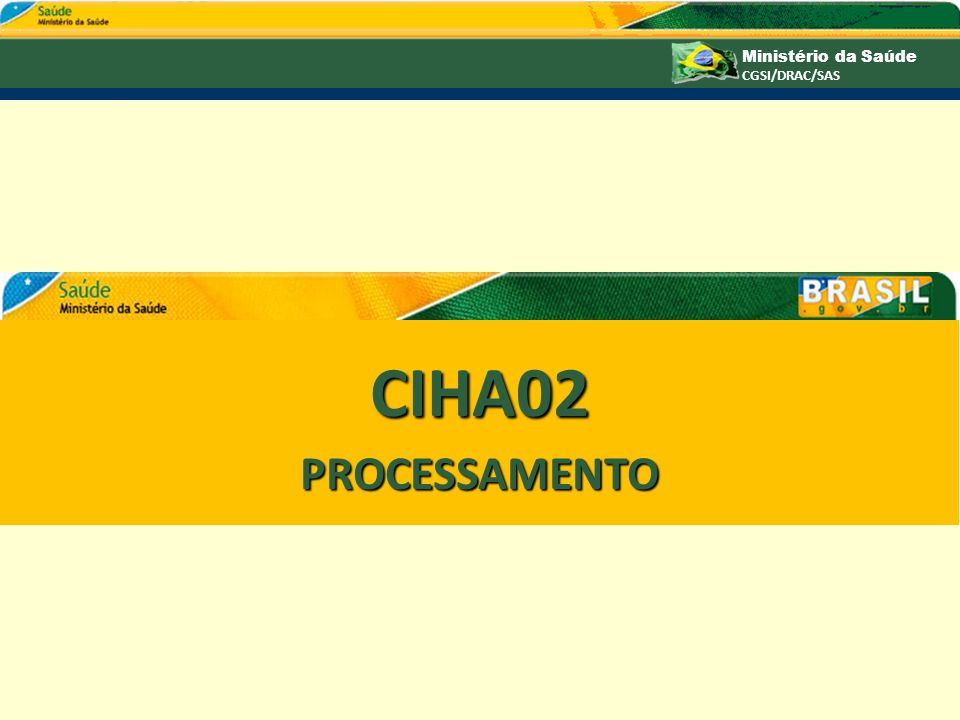 Ministério da Saúde CGSI/DRAC/SAS CIHA02 PROCESSAMENTO