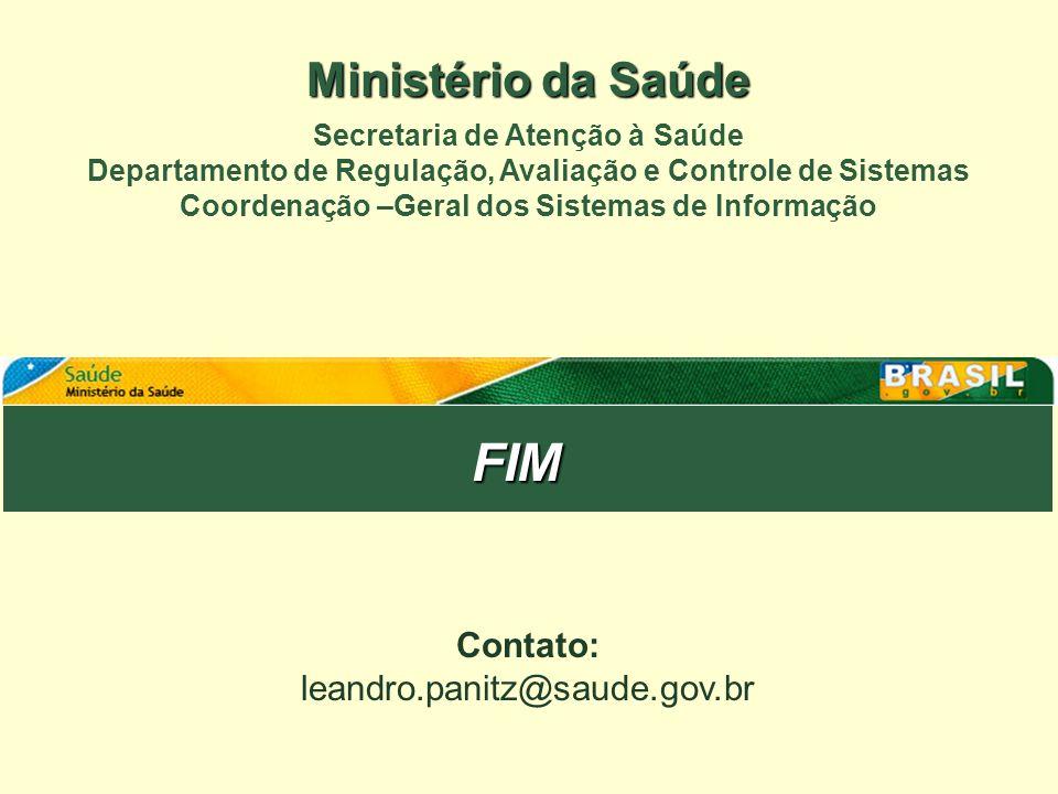 FIM Ministério da Saúde Contato: leandro.panitz@saude.gov.br