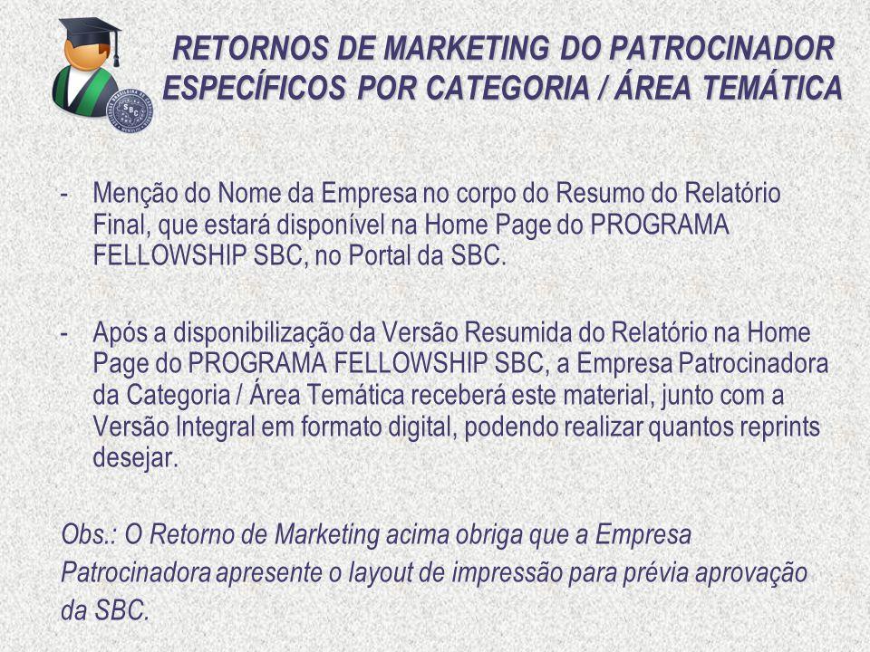 RETORNOS DE MARKETING DO PATROCINADOR ESPECÍFICOS POR CATEGORIA / ÁREA TEMÁTICA