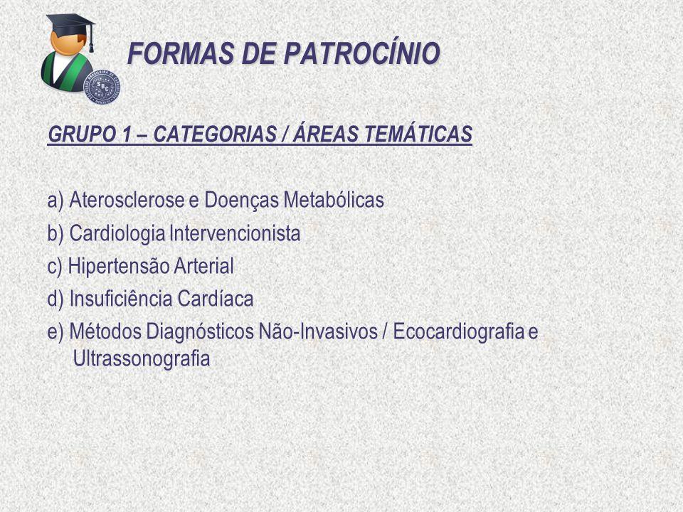 FORMAS DE PATROCÍNIO GRUPO 1 – CATEGORIAS / ÁREAS TEMÁTICAS