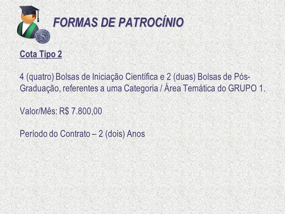 FORMAS DE PATROCÍNIO Cota Tipo 2
