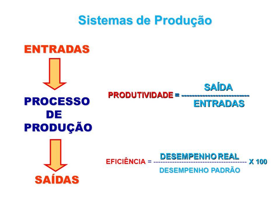 Sistemas de Produção ENTRADAS PROCESSO DE PRODUÇÃO SAÍDAS