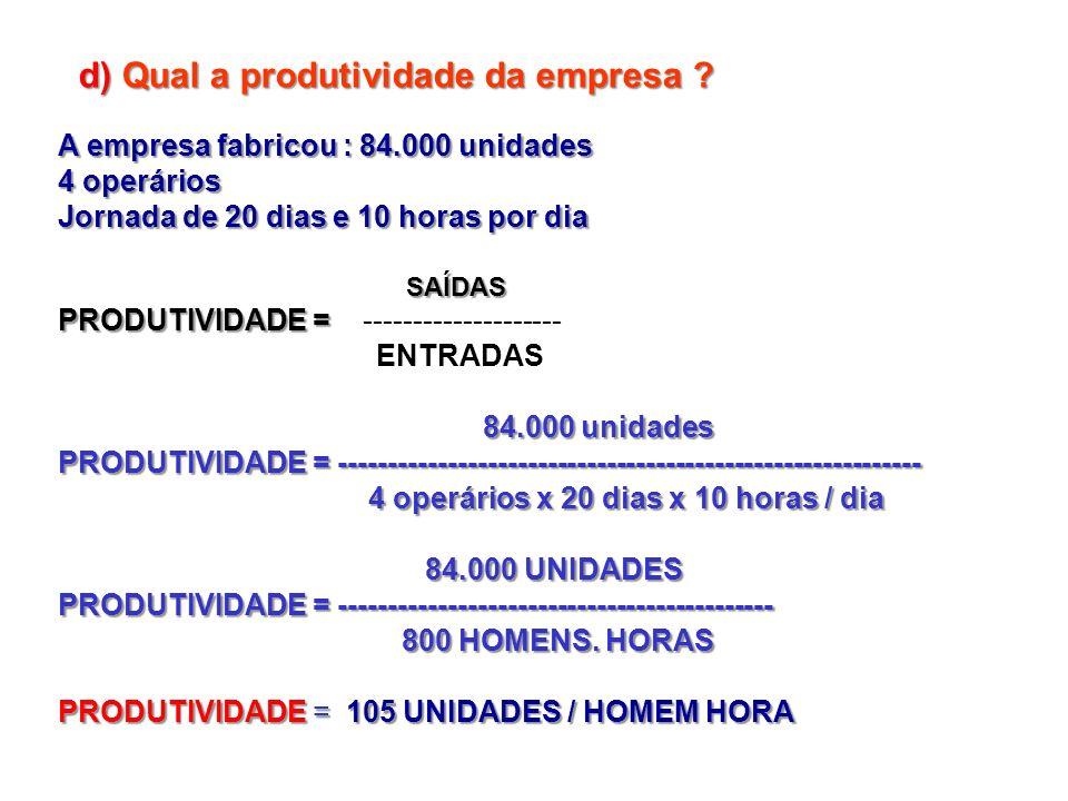 d) Qual a produtividade da empresa