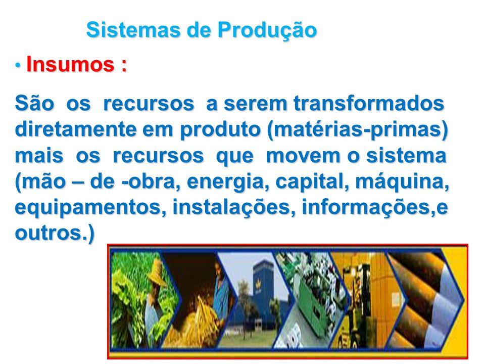 Sistemas de Produção Insumos :