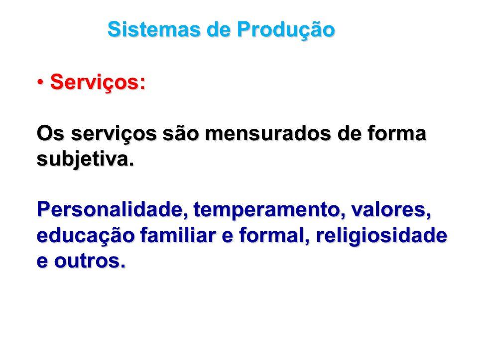 Sistemas de Produção Serviços: Os serviços são mensurados de forma. subjetiva. Personalidade, temperamento, valores,