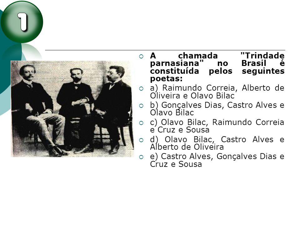 A chamada Trindade parnasiana no Brasil é constituída pelos seguintes poetas:
