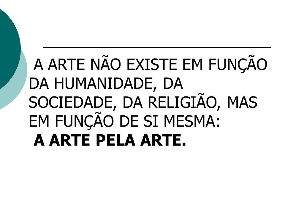 A ARTE NÃO EXISTE EM FUNÇÃO DA HUMANIDADE, DA SOCIEDADE, DA RELIGIÃO, MAS EM FUNÇÃO DE SI MESMA: