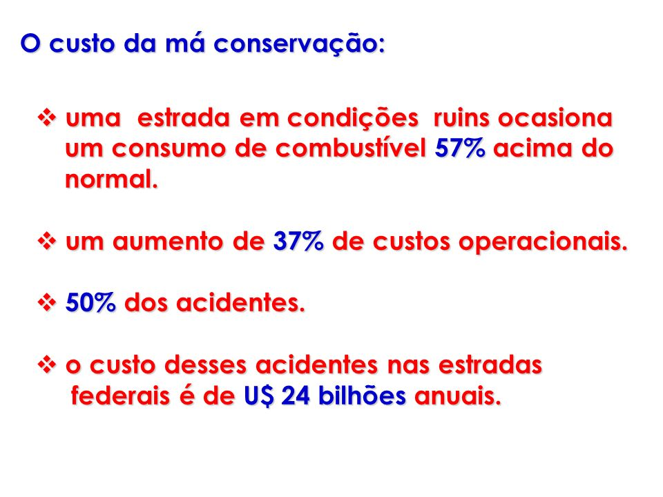 O custo da má conservação: