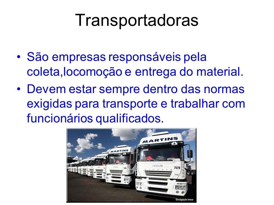 TransportadorasSão empresas responsáveis pela coleta,locomoção e entrega do material.
