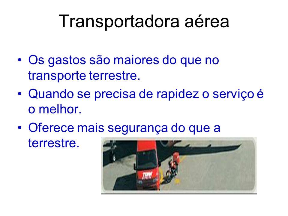 Transportadora aéreaOs gastos são maiores do que no transporte terrestre. Quando se precisa de rapidez o serviço é o melhor.
