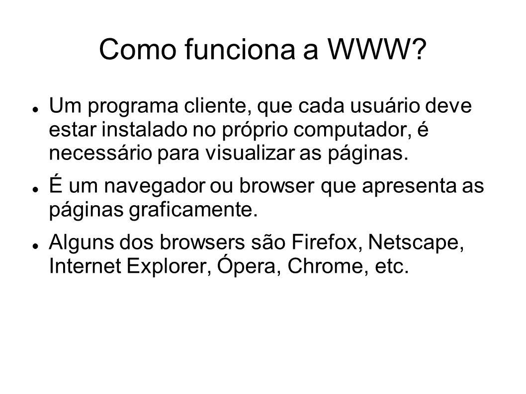 Como funciona a WWW Um programa cliente, que cada usuário deve estar instalado no próprio computador, é necessário para visualizar as páginas.