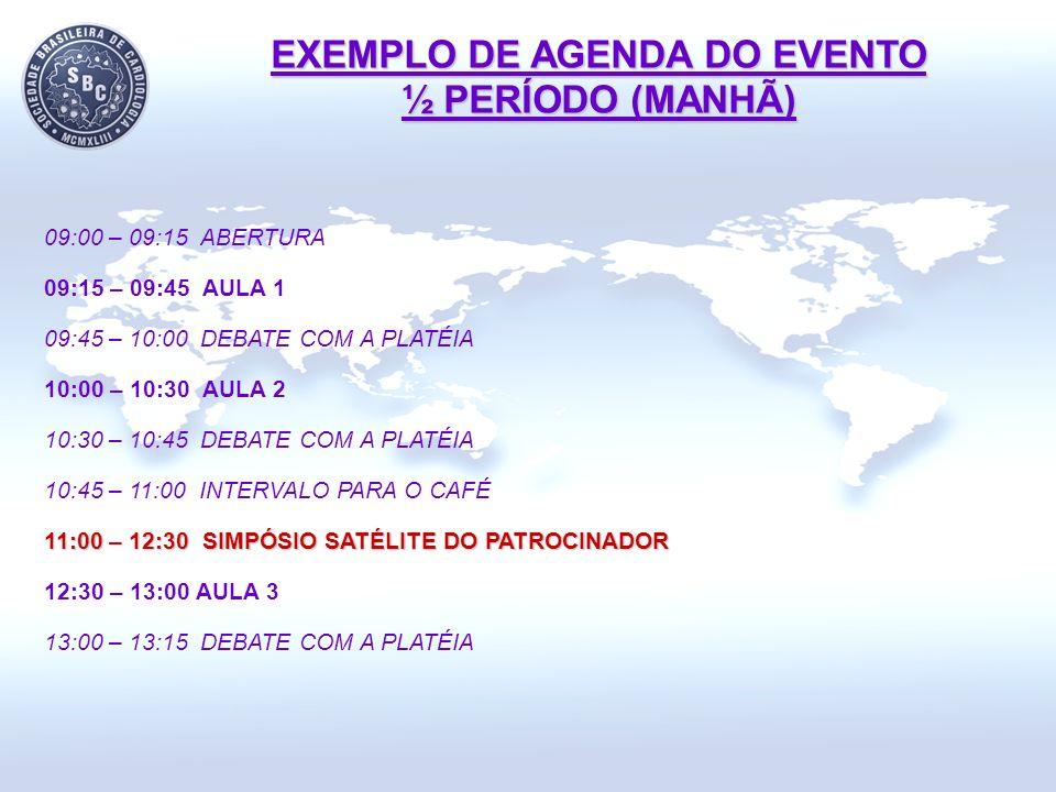 EXEMPLO DE AGENDA DO EVENTO ½ PERÍODO (MANHÃ)