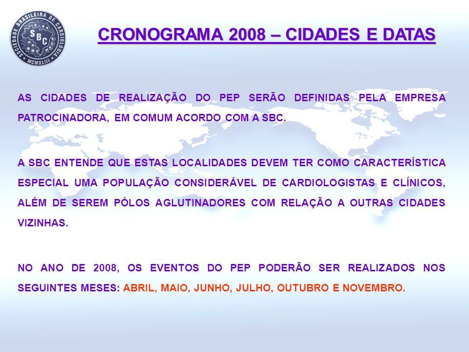 CRONOGRAMA 2008 – CIDADES E DATAS