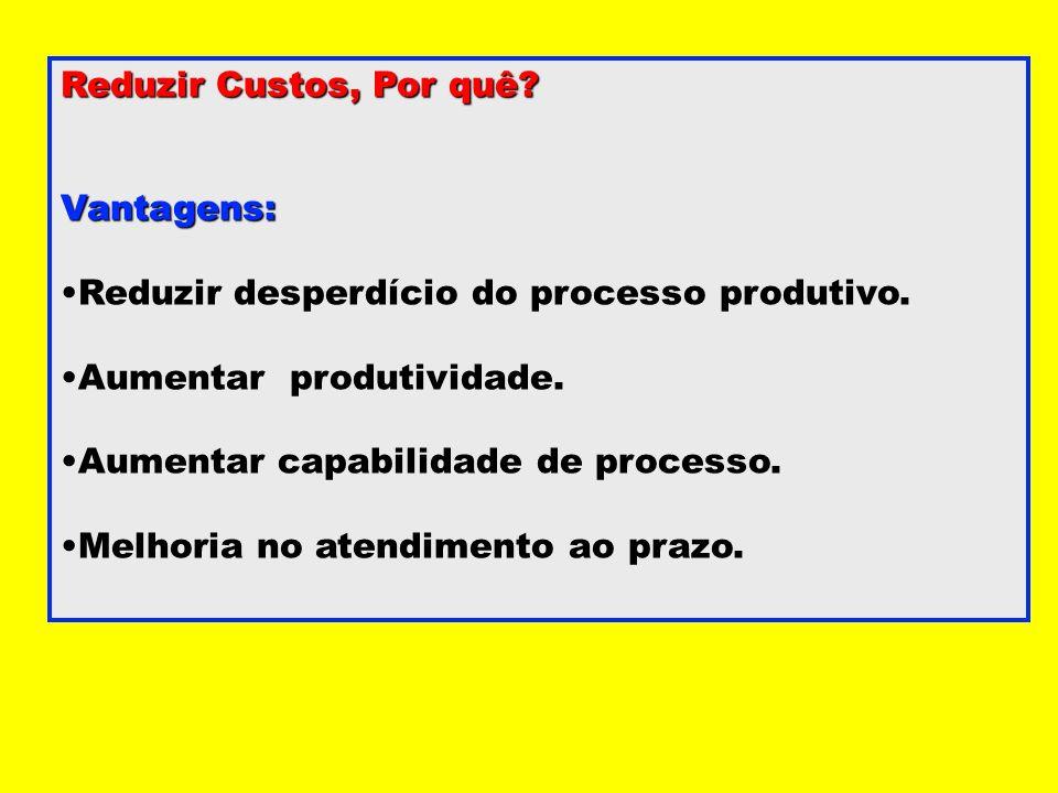 Reduzir Custos, Por quê Vantagens: Reduzir desperdício do processo produtivo. Aumentar produtividade.