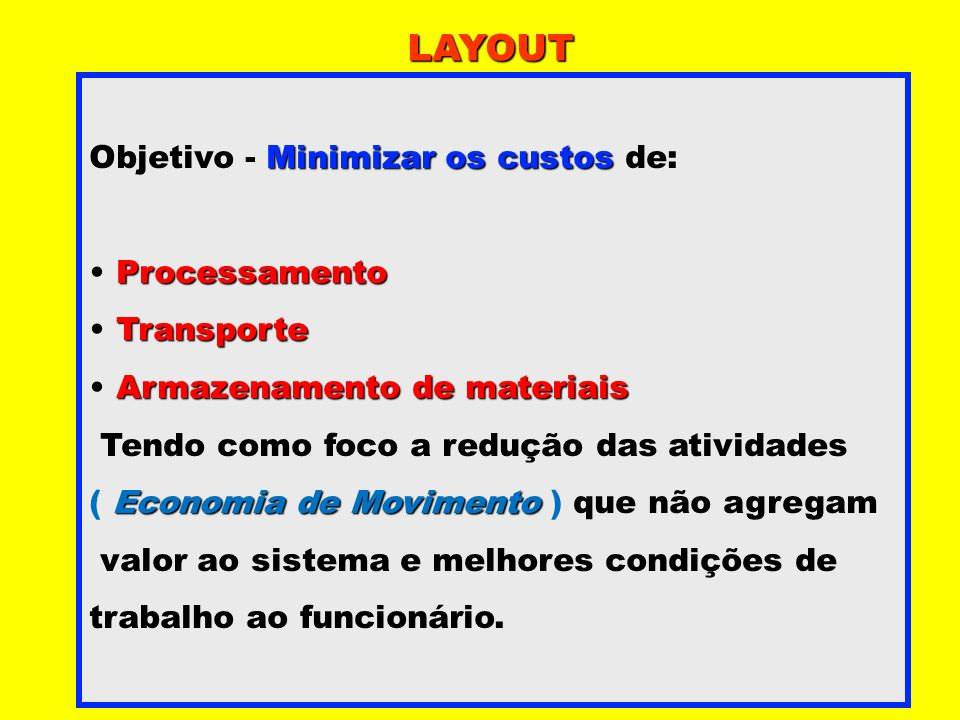 LAYOUT Objetivo - Minimizar os custos de: Processamento Transporte