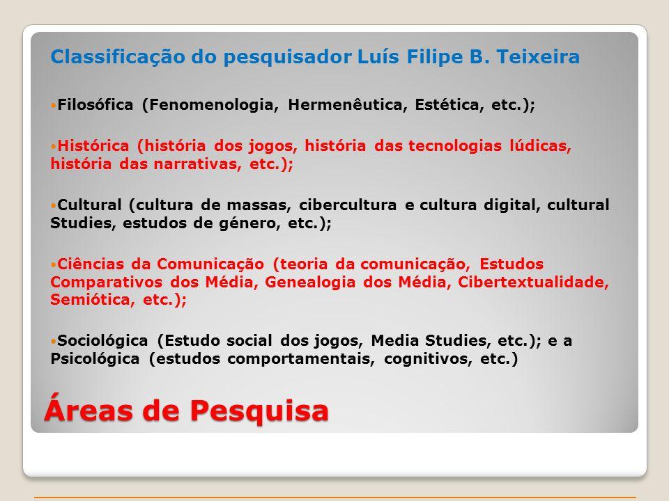 Áreas de Pesquisa Classificação do pesquisador Luís Filipe B. Teixeira