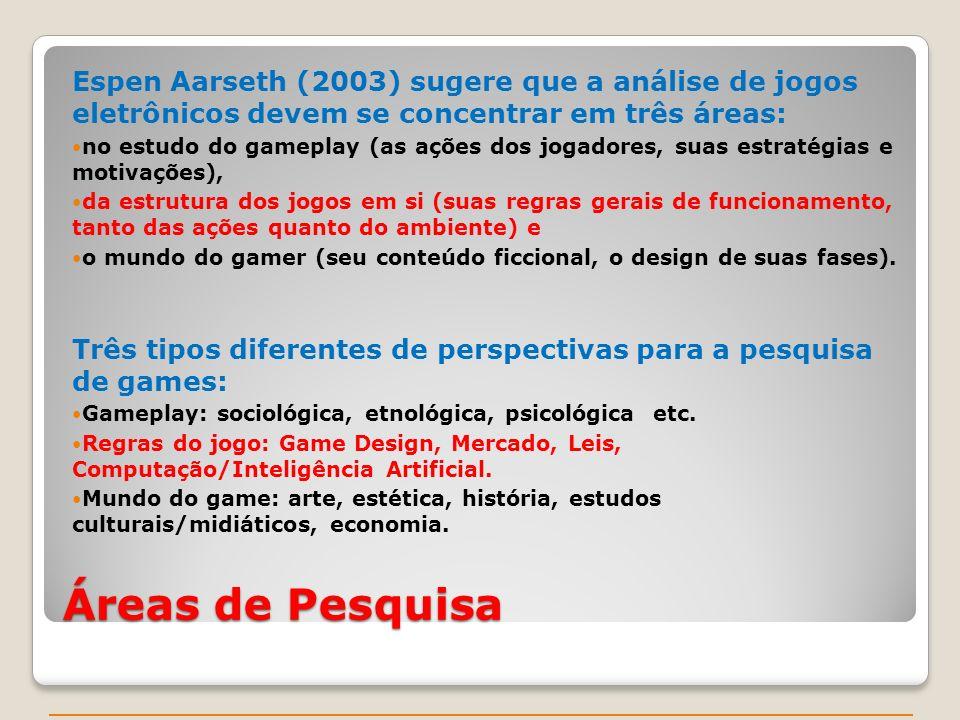Espen Aarseth (2003) sugere que a análise de jogos eletrônicos devem se concentrar em três áreas: