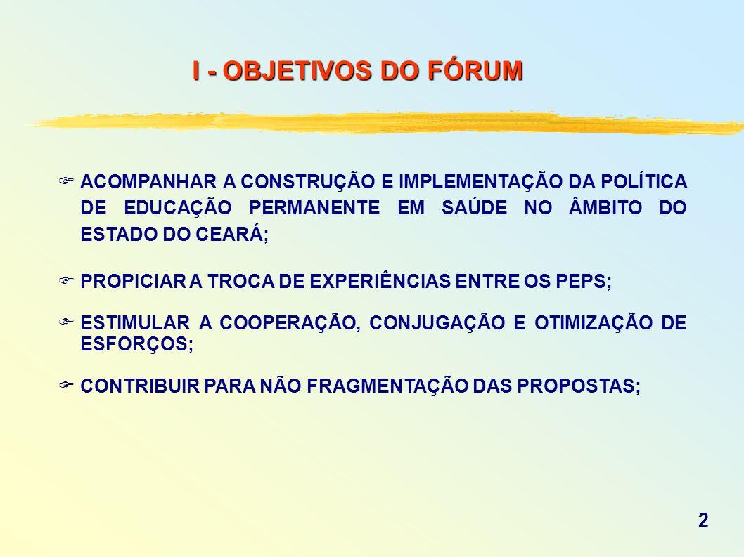 I - OBJETIVOS DO FÓRUMACOMPANHAR A CONSTRUÇÃO E IMPLEMENTAÇÃO DA POLÍTICA DE EDUCAÇÃO PERMANENTE EM SAÚDE NO ÂMBITO DO ESTADO DO CEARÁ;