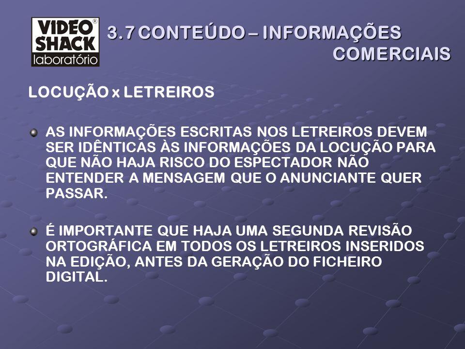 3.7 CONTEÚDO – INFORMAÇÕES COMERCIAIS