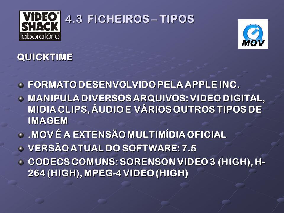 4.3 FICHEIROS – TIPOS QUICKTIME FORMATO DESENVOLVIDO PELA APPLE INC.
