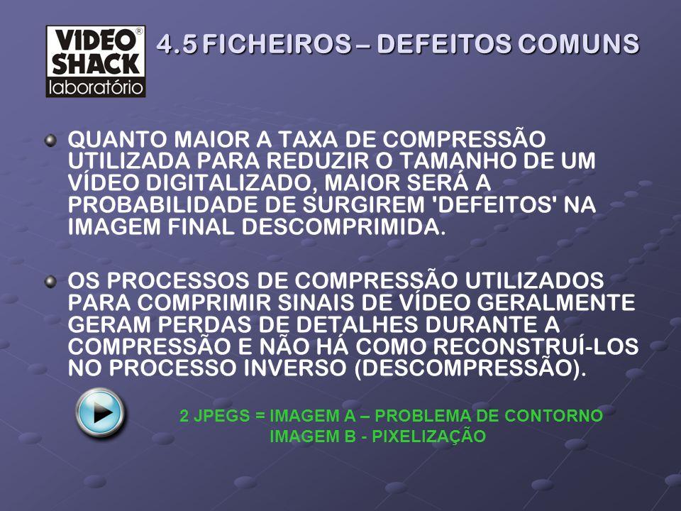 4.5 FICHEIROS – DEFEITOS COMUNS