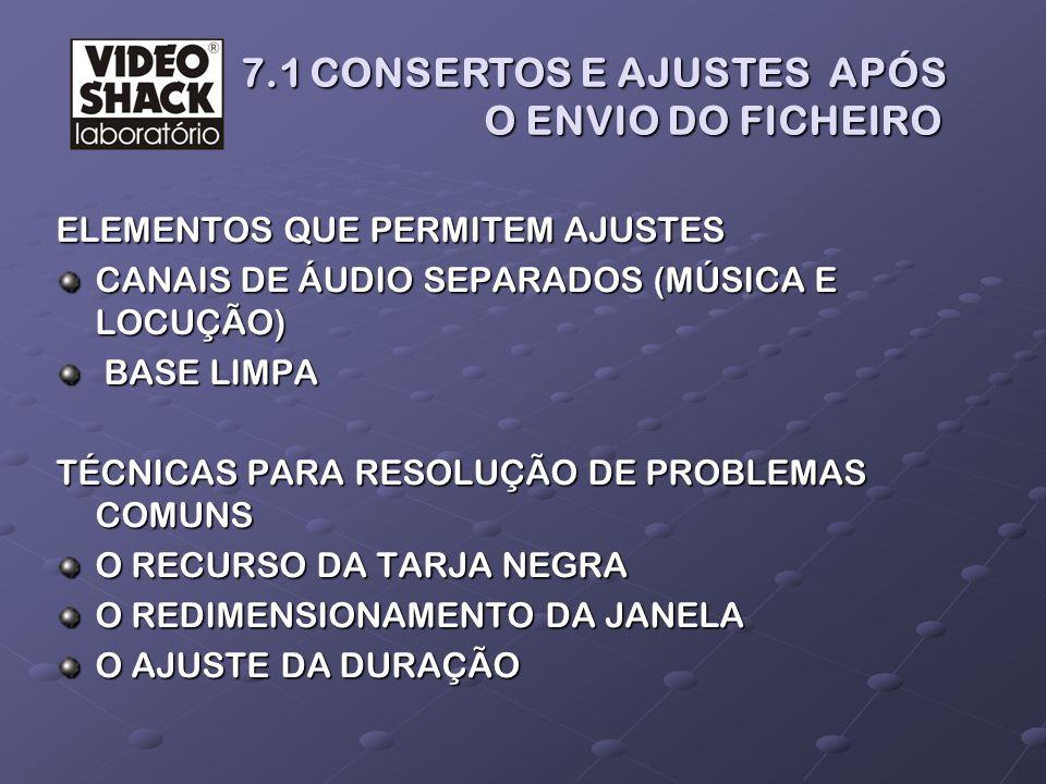7.1 CONSERTOS E AJUSTES APÓS O ENVIO DO FICHEIRO