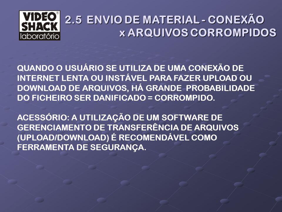 2.5 ENVIO DE MATERIAL - CONEXÃO x ARQUIVOS CORROMPIDOS