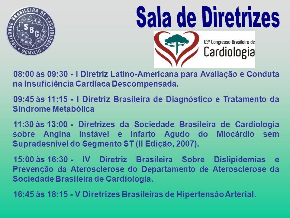 Sala de Diretrizes 08:00 às 09:30 - I Diretriz Latino-Americana para Avaliação e Conduta na Insuficiência Cardíaca Descompensada.