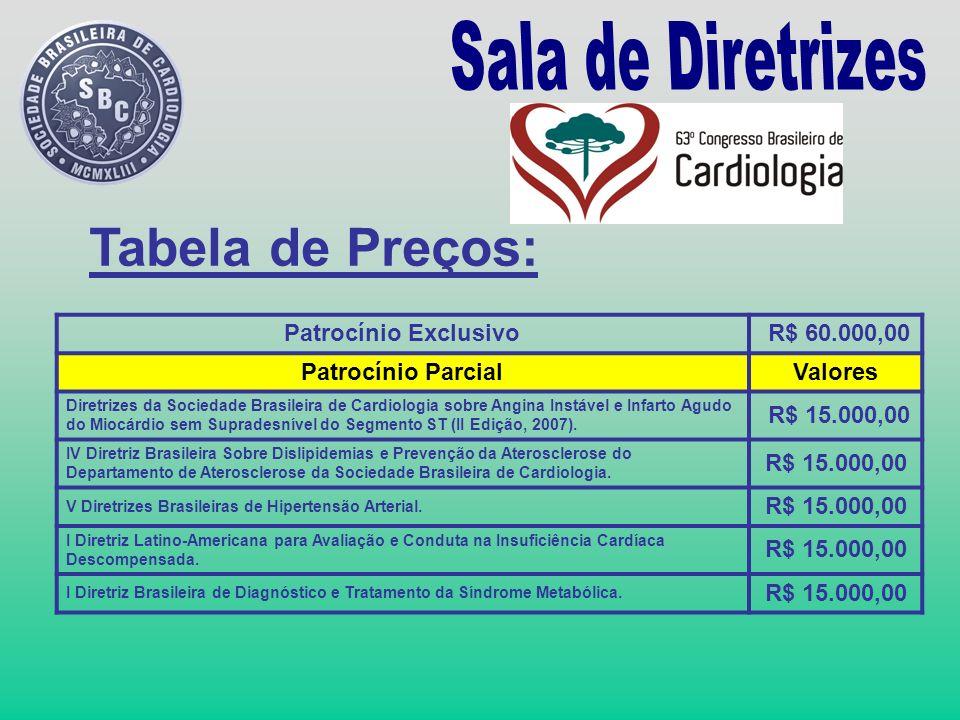 Tabela de Preços: Sala de Diretrizes Patrocínio Exclusivo R$ 60.000,00