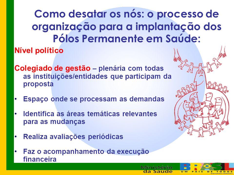 Como desatar os nós: o processo de organização para a implantação dos Pólos Permanente em Saúde: