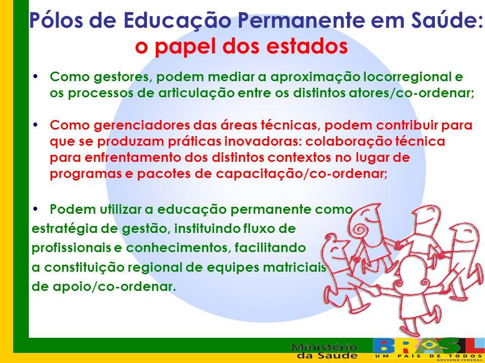 Pólos de Educação Permanente em Saúde: o papel dos estados