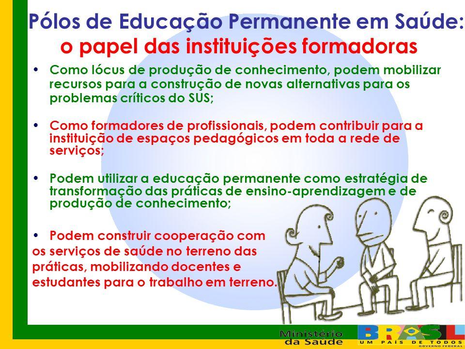 Pólos de Educação Permanente em Saúde: o papel das instituições formadoras