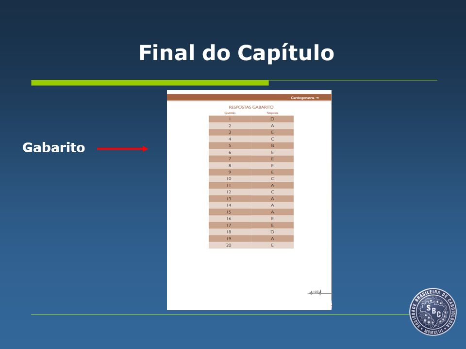 Final do Capítulo Gabarito