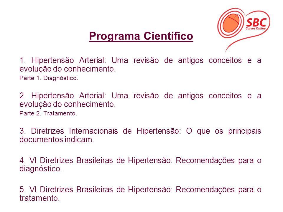 Programa Científico 1. Hipertensão Arterial: Uma revisão de antigos conceitos e a evolução do conhecimento.