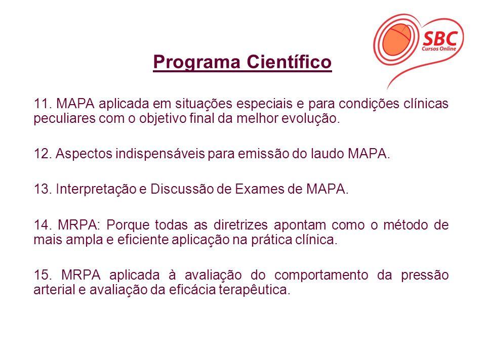 Programa Científico 11. MAPA aplicada em situações especiais e para condições clínicas peculiares com o objetivo final da melhor evolução.