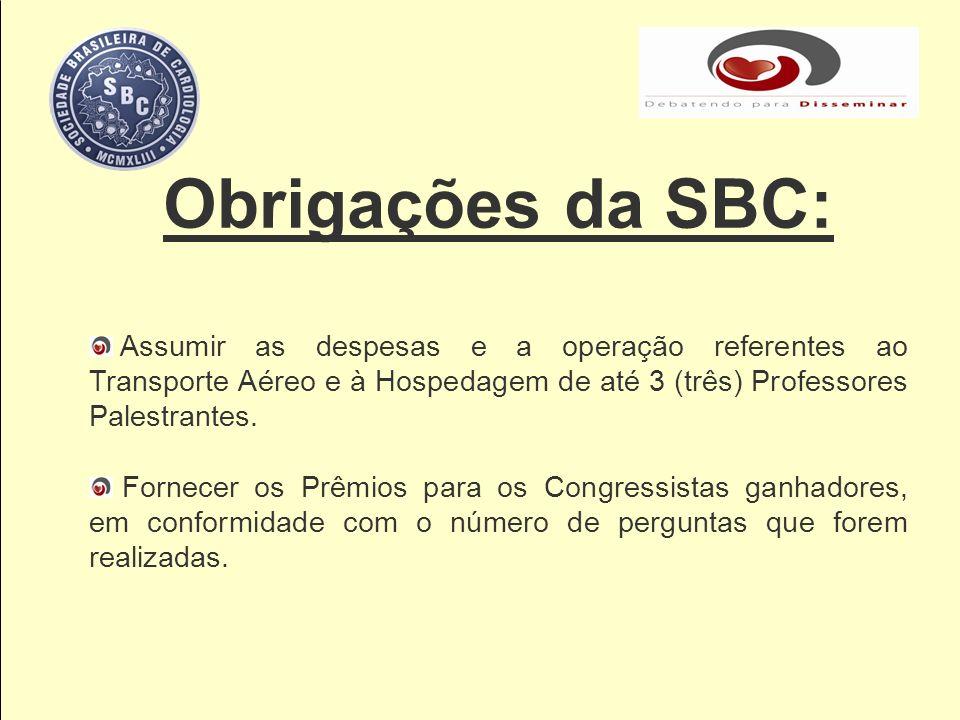 Obrigações da SBC: Assumir as despesas e a operação referentes ao Transporte Aéreo e à Hospedagem de até 3 (três) Professores Palestrantes.