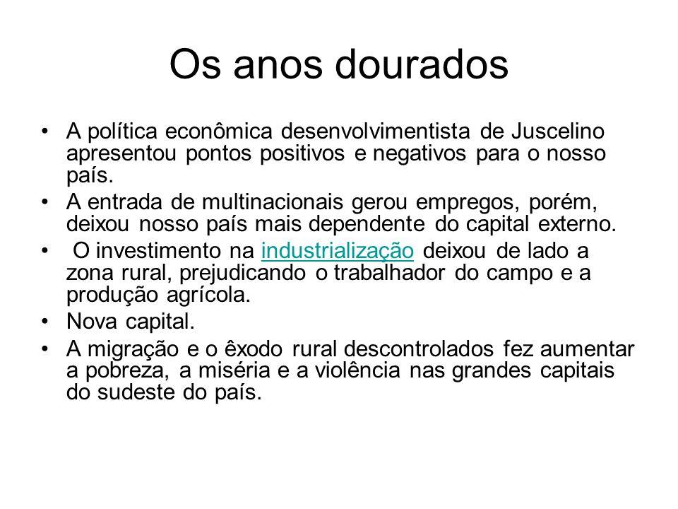 Os anos douradosA política econômica desenvolvimentista de Juscelino apresentou pontos positivos e negativos para o nosso país.