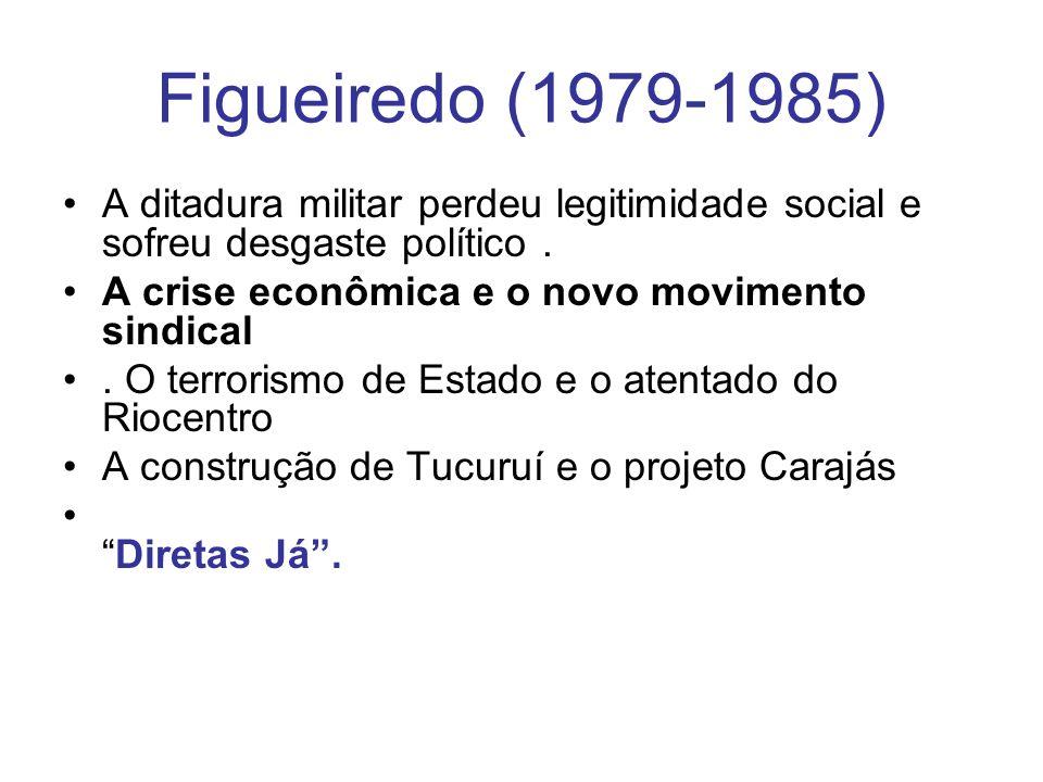 Figueiredo (1979-1985) A ditadura militar perdeu legitimidade social e sofreu desgaste político . A crise econômica e o novo movimento sindical.