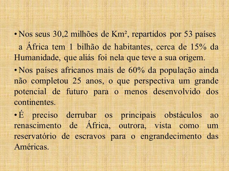 Nos seus 30,2 milhões de Km², repartidos por 53 países