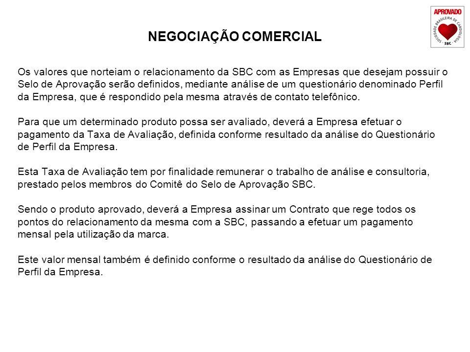 NEGOCIAÇÃO COMERCIAL Os valores que norteiam o relacionamento da SBC com as Empresas que desejam possuir o.
