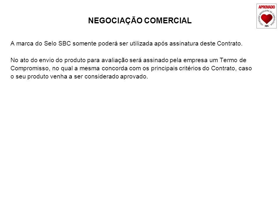 NEGOCIAÇÃO COMERCIALA marca do Selo SBC somente poderá ser utilizada após assinatura deste Contrato.