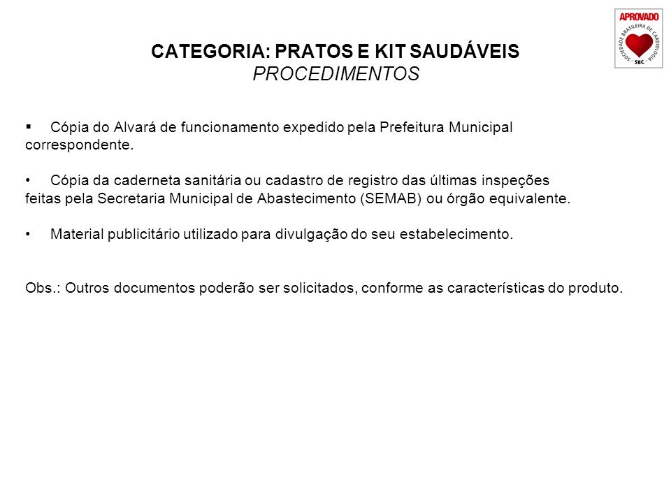 CATEGORIA: PRATOS E KIT SAUDÁVEIS PROCEDIMENTOS