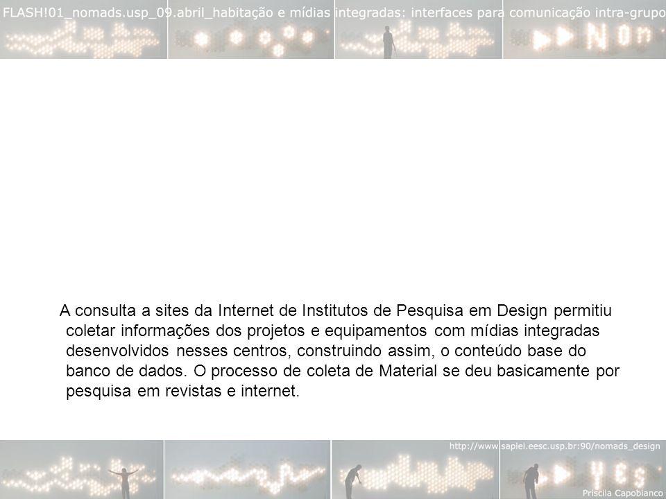 A consulta a sites da Internet de Institutos de Pesquisa em Design permitiu coletar informações dos projetos e equipamentos com mídias integradas desenvolvidos nesses centros, construindo assim, o conteúdo base do banco de dados.