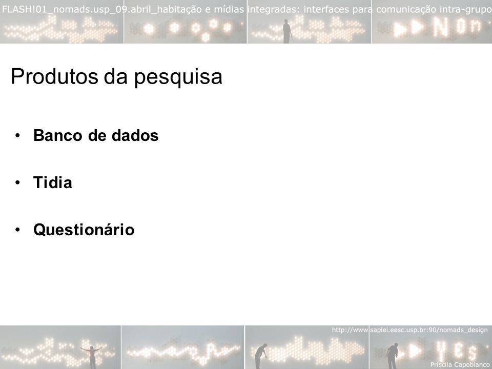 Produtos da pesquisa Banco de dados Tidia Questionário