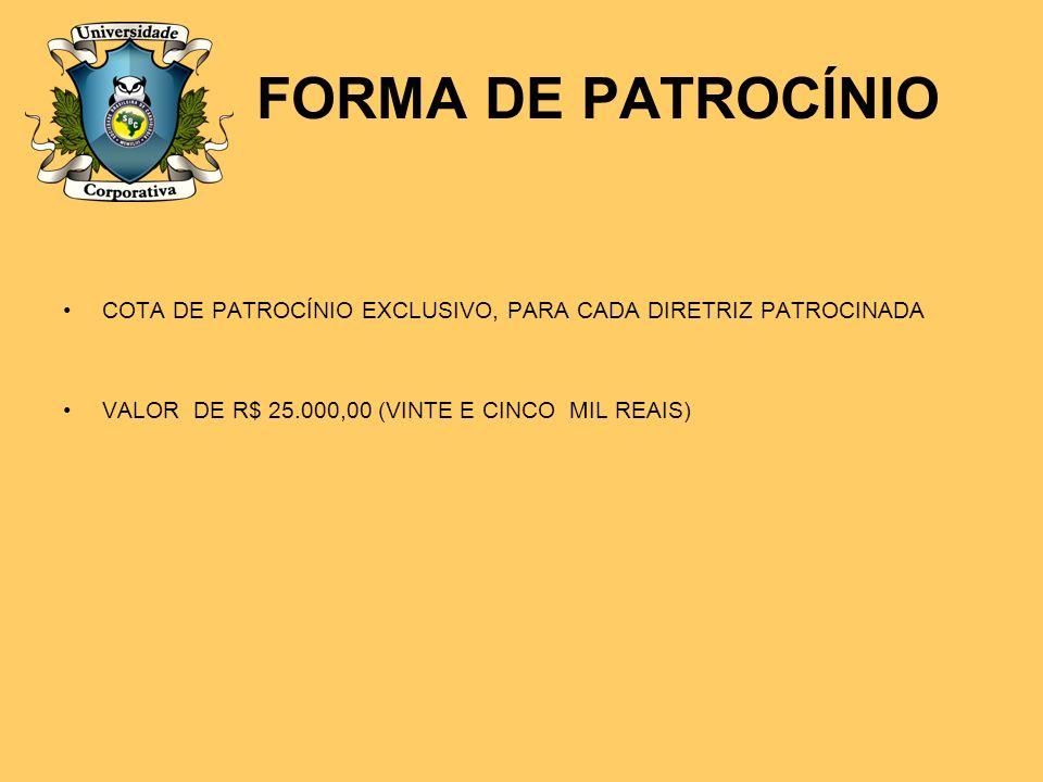 FORMA DE PATROCÍNIO COTA DE PATROCÍNIO EXCLUSIVO, PARA CADA DIRETRIZ PATROCINADA.