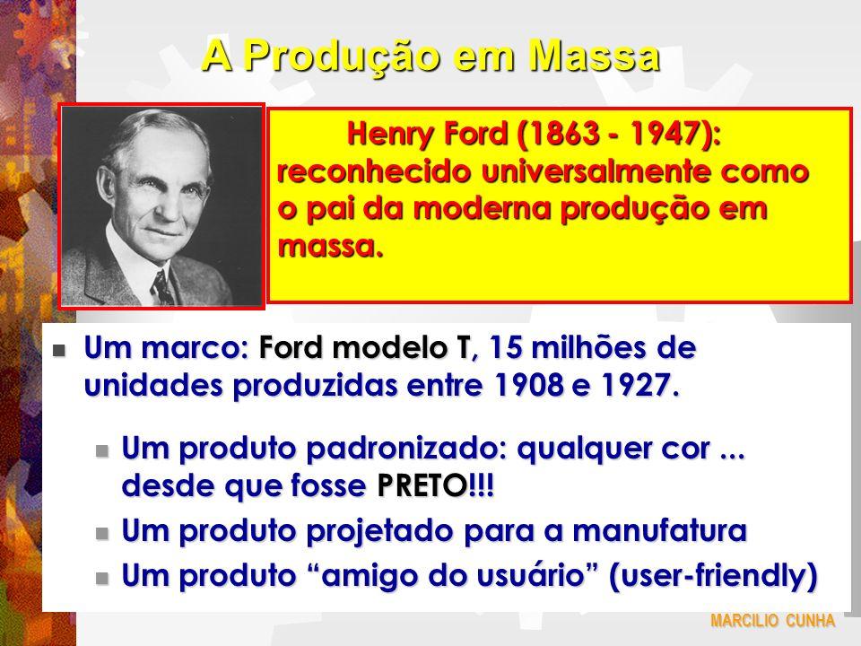 A Produção em Massa Henry Ford (1863 - 1947): reconhecido universalmente como o pai da moderna produção em massa.