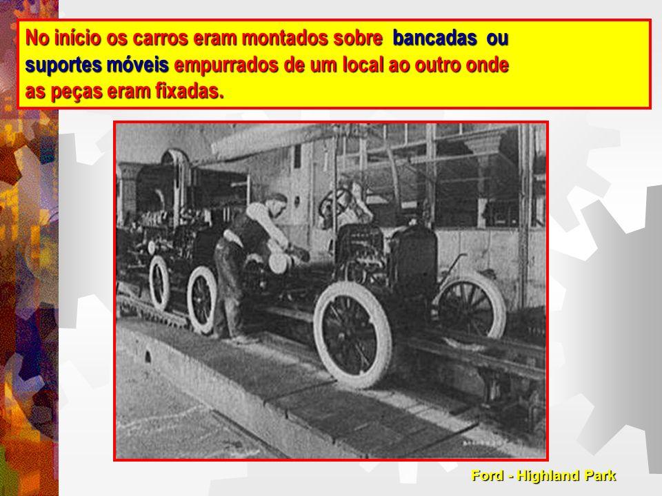No início os carros eram montados sobre bancadas ou